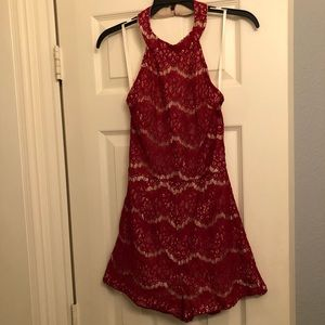 NWT She + Sky red lace backless halter romper